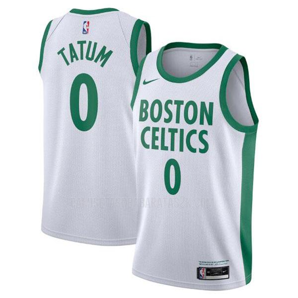 camiseta boston celtics de la jayson tatum 0 hombres blanco city edition 2020-21