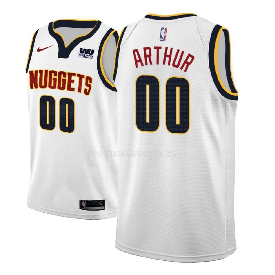 camiseta denver nuggets de la darrell arthur 0 hombres blanco association 2018-19