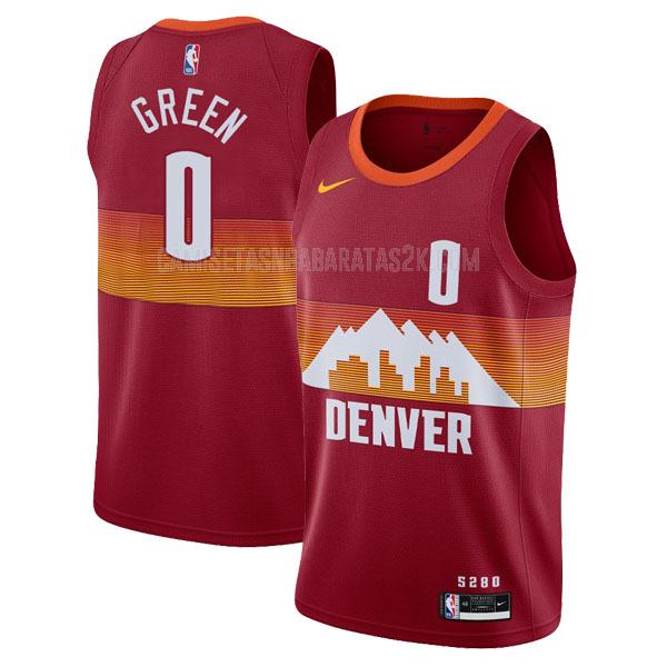 camiseta denver nuggets de la jamychal green 0 hombres rojo city edition 2020-21
