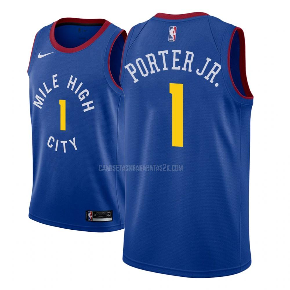 camiseta denver nuggets de la michael porter jr 1 hombres azul statement