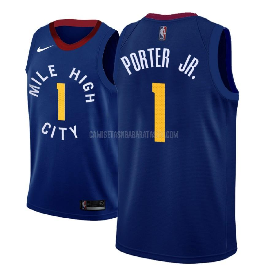 camiseta denver nuggets de la michael porter jr 1 hombres azul statement 2018 nba draft