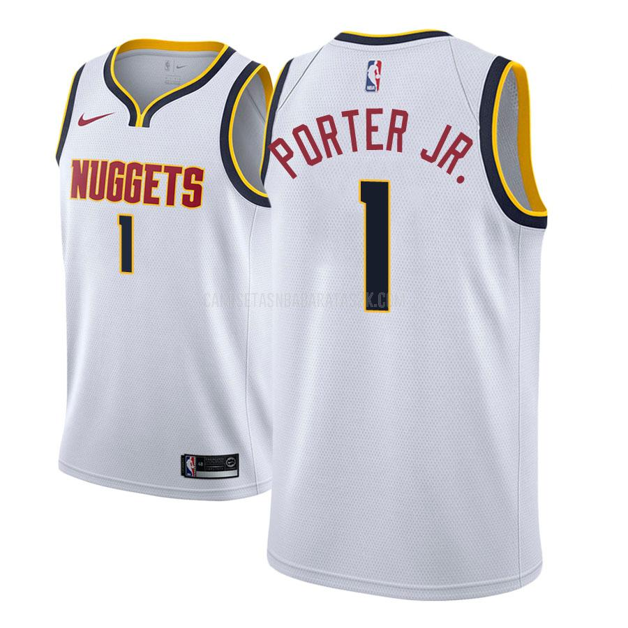 camiseta denver nuggets de la michael porter jr 1 hombres blanco association 2018 nba draft