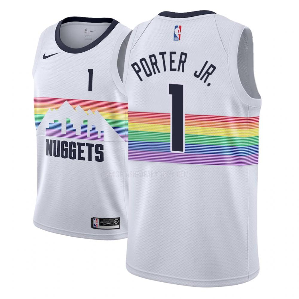 camiseta denver nuggets de la michael porter jr 1 hombres blanco edición city
