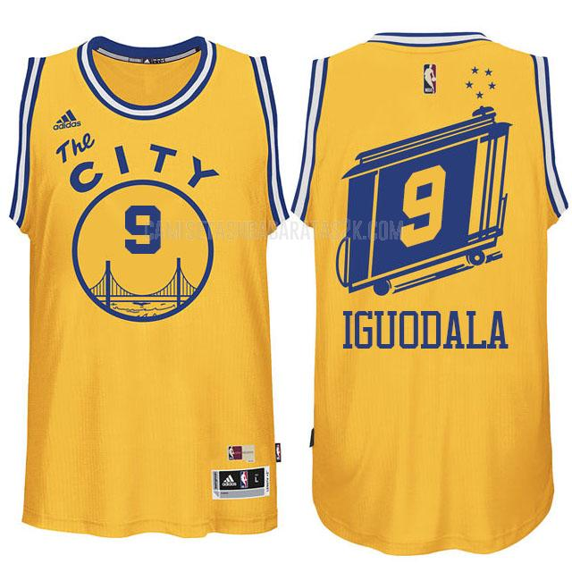camiseta golden state warriors de la andre iguodala 9 hombres amarillo city