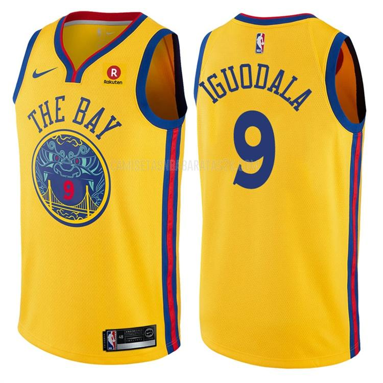 camiseta golden state warriors de la andre iguodala 9 hombres amarillo edición city