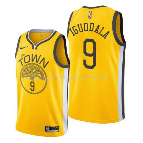 camiseta golden state warriors de la andre iguodala 9 hombres amarillo edición earned
