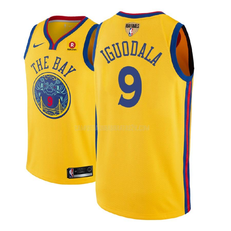 camiseta golden state warriors de la andre iguodala 9 hombres amarillo nba finals edición parche city 2018
