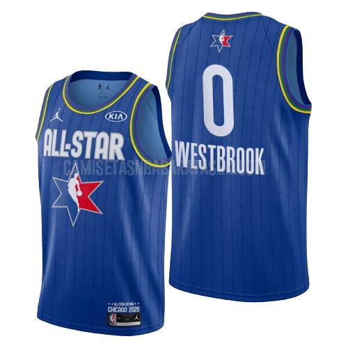 camiseta houston rockets de la russell westbrook 0 hombres azul nba all-star 2020