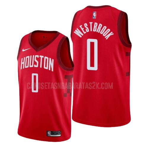 camiseta houston rockets de la russell westbrook 0 hombres rojo edición earned