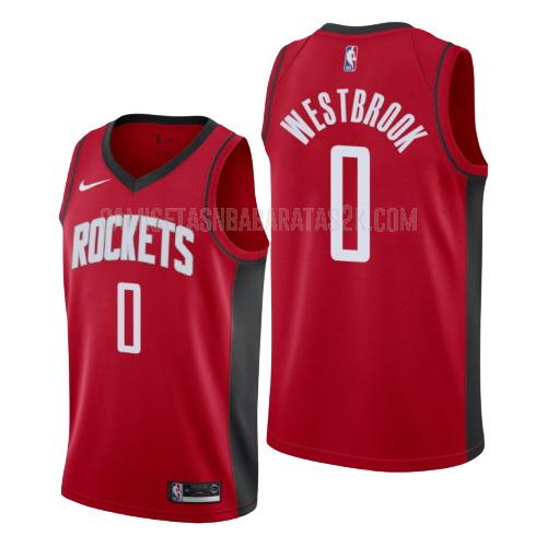 camiseta houston rockets de la russell westbrook 0 hombres rojo icon