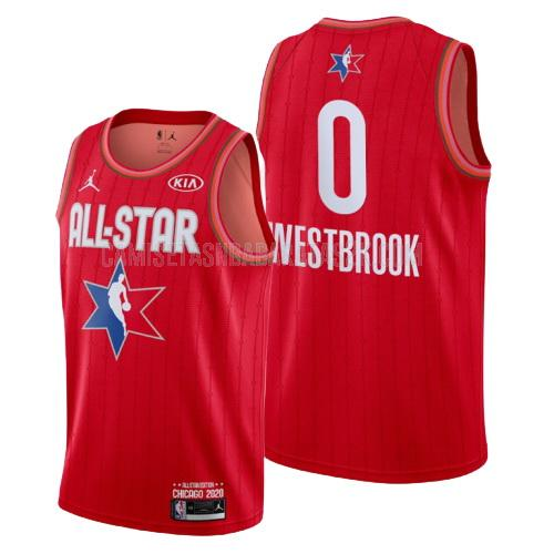 camiseta houston rockets de la russell westbrook 0 hombres rojo nba all-star 2020