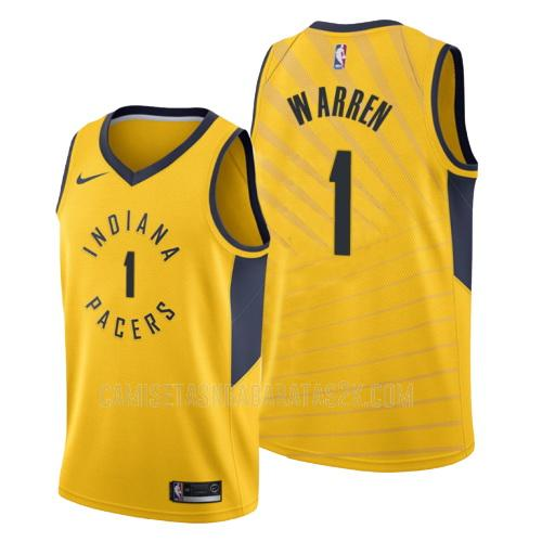 camiseta indiana pacers de la tj warren 1 hombres amarillo statement