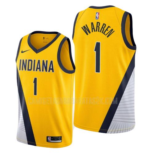 camiseta indiana pacers de la tj warren 1 hombres amarillo statement 2019-20