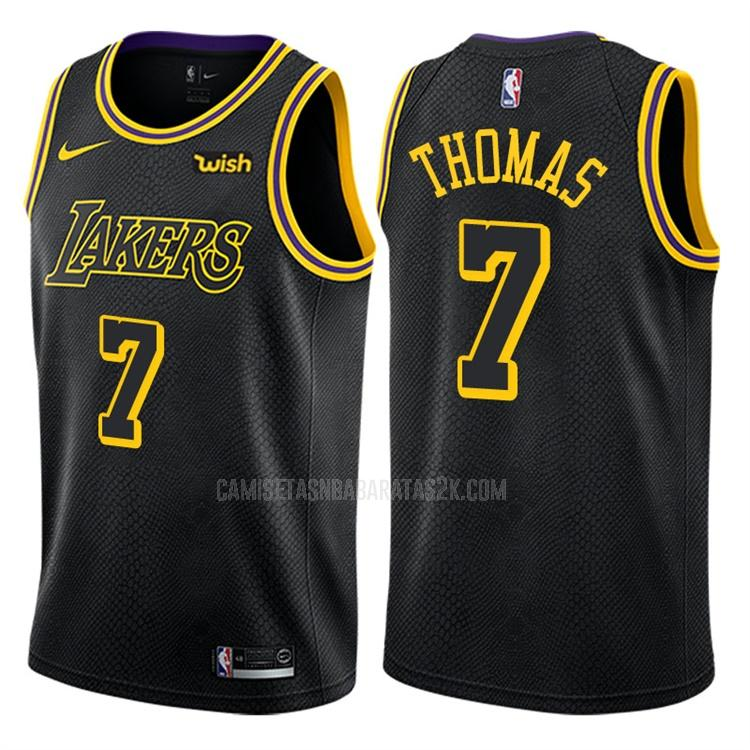 camiseta los angeles lakers de la isaiah thomas 3 hombres negro edición city