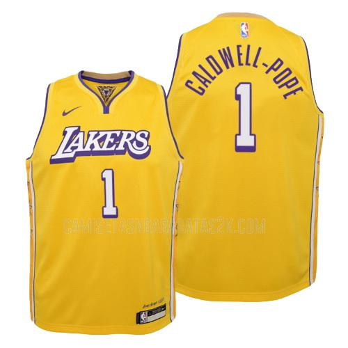 camiseta los angeles lakers de la kentavious caldwell-pope 1 niños amarillo edición city 2019-20