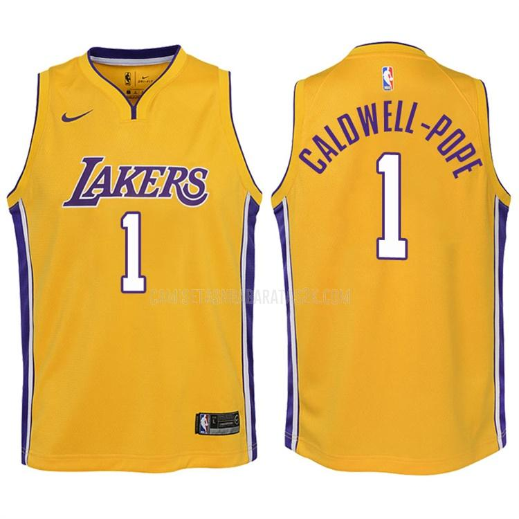 camiseta los angeles lakers de la kentavious caldwell-pope 1 niños amarillo icon 2017-18