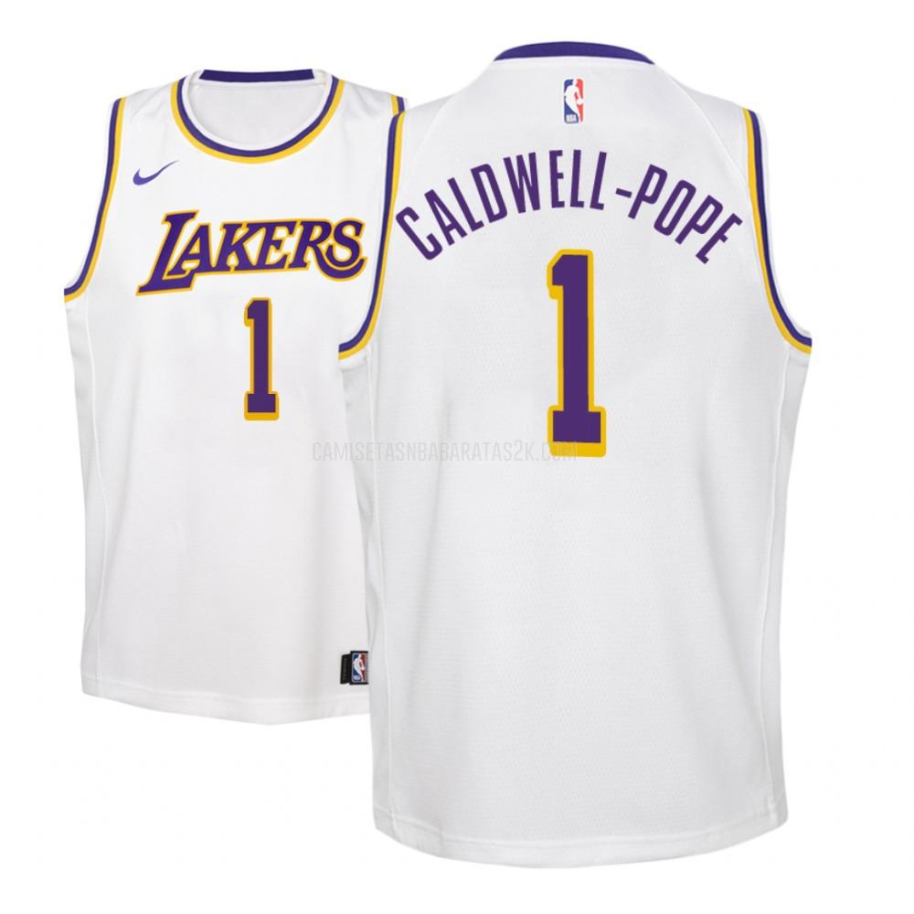 camiseta los angeles lakers de la kentavious caldwell-pope 1 niños blanco association