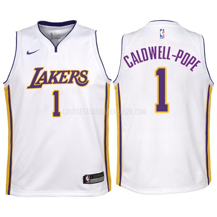 camiseta los angeles lakers de la kentavious caldwell-pope 1 niños blanco association 2017-18
