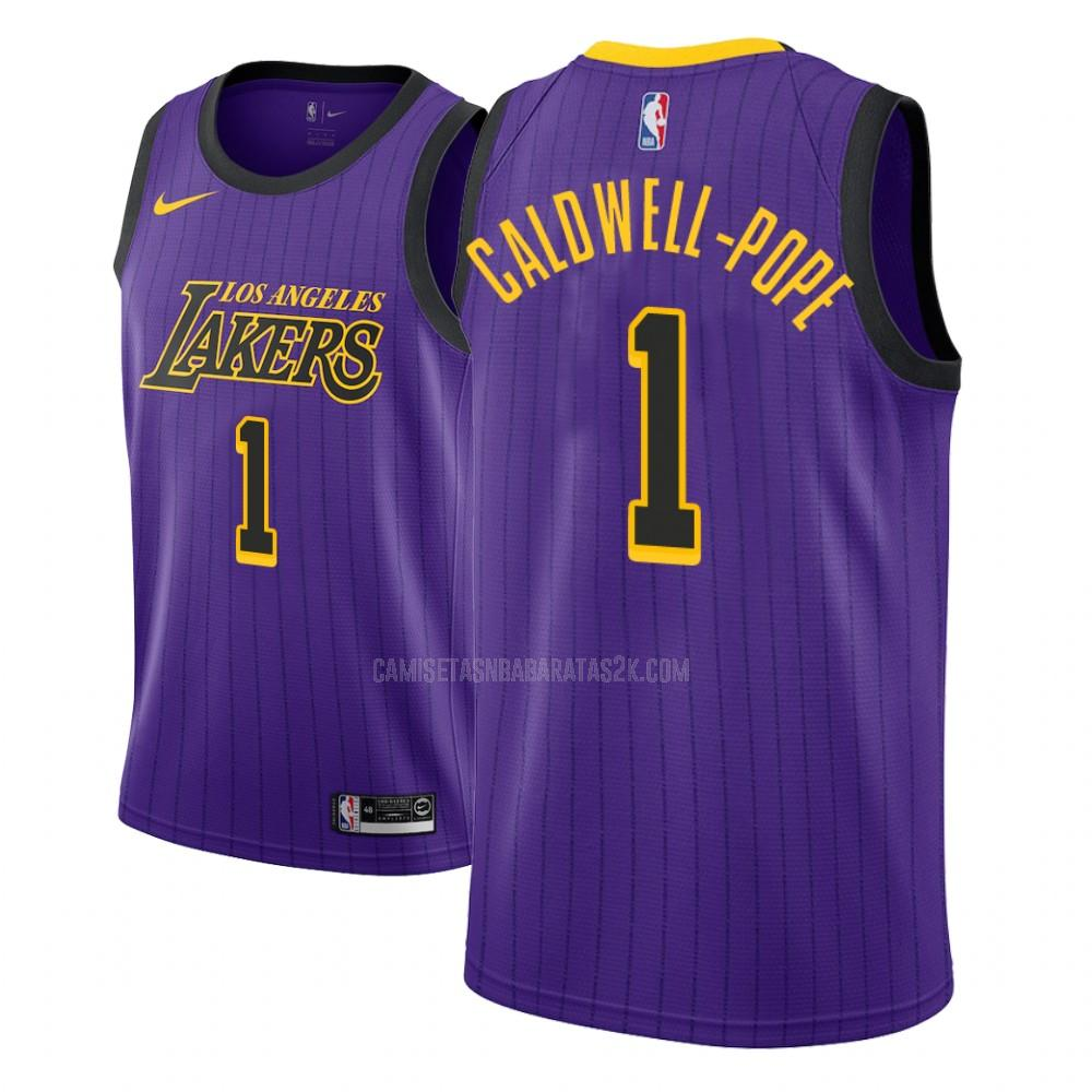camiseta los angeles lakers de la kentavious caldwell-pope 1 niños morado edición city