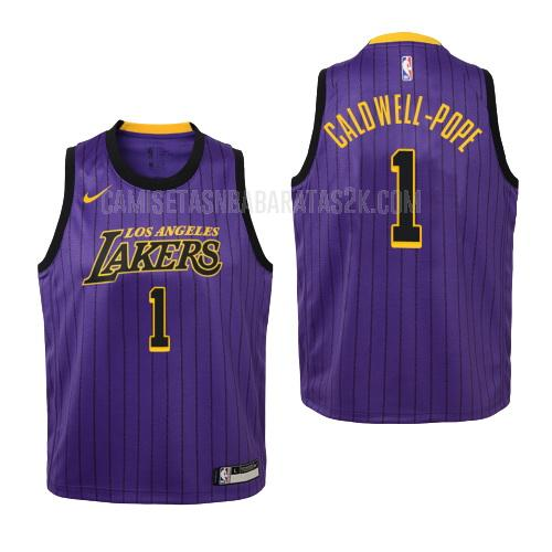 camiseta los angeles lakers de la kentavious caldwell-pope 1 niños morado edición city 2018-19
