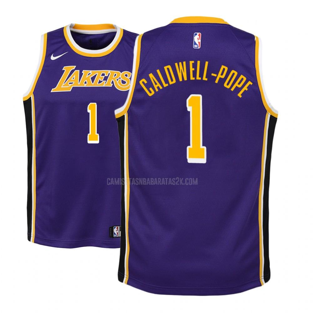 camiseta los angeles lakers de la kentavious caldwell-pope 1 niños morado statement