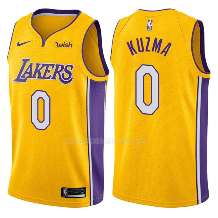 camiseta los angeles lakers de la kyle kuzma 0 hombres amarillo icon 2017-18