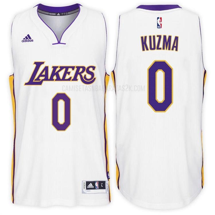camiseta los angeles lakers de la kyle kuzma 0 hombres blanco alterno