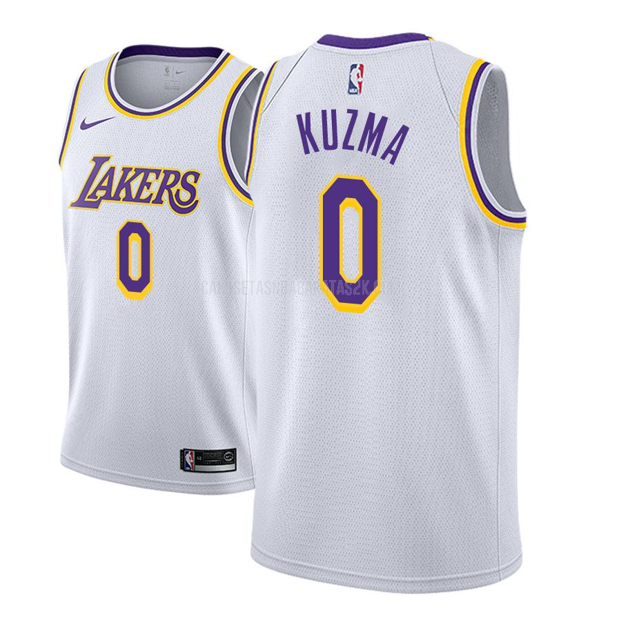 camiseta los angeles lakers de la kyle kuzma 0 hombres blanco association