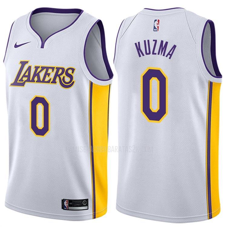 camiseta los angeles lakers de la kyle kuzma 0 hombres blanco association 2017-18