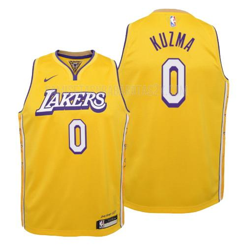 camiseta los angeles lakers de la kyle kuzma 0 niños amarillo edición city 2019-20
