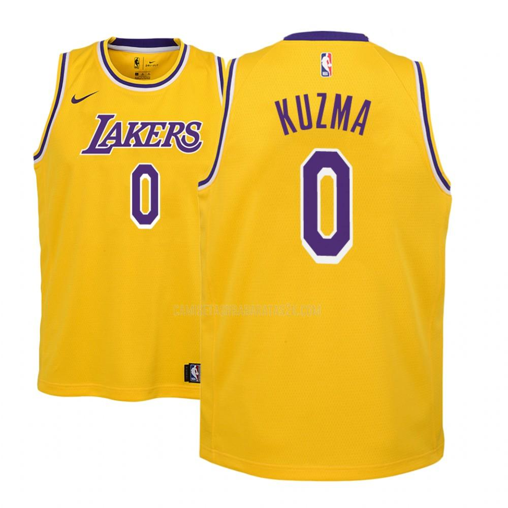 camiseta los angeles lakers de la kyle kuzma 0 niños amarillo icon