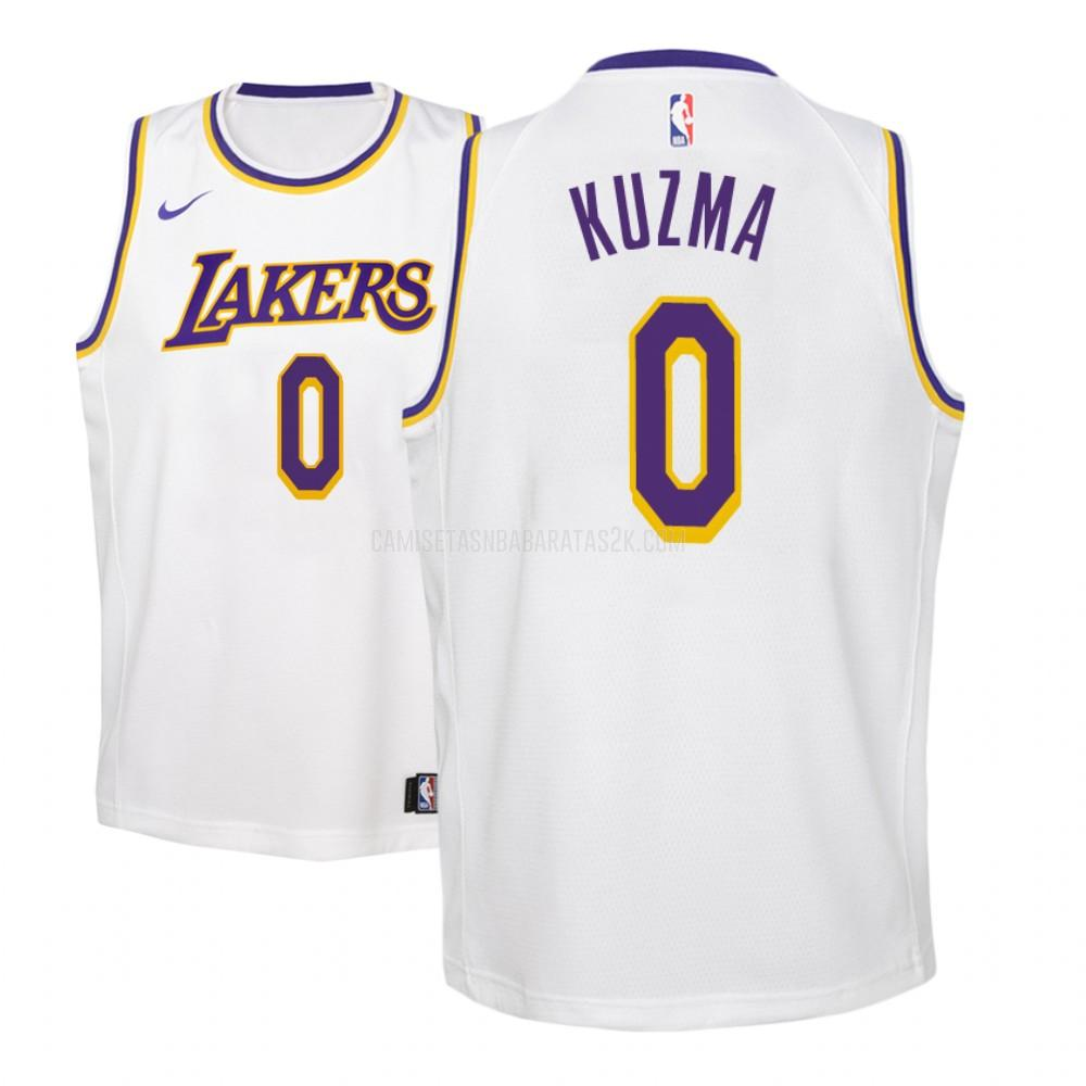camiseta los angeles lakers de la kyle kuzma 0 niños blanco association