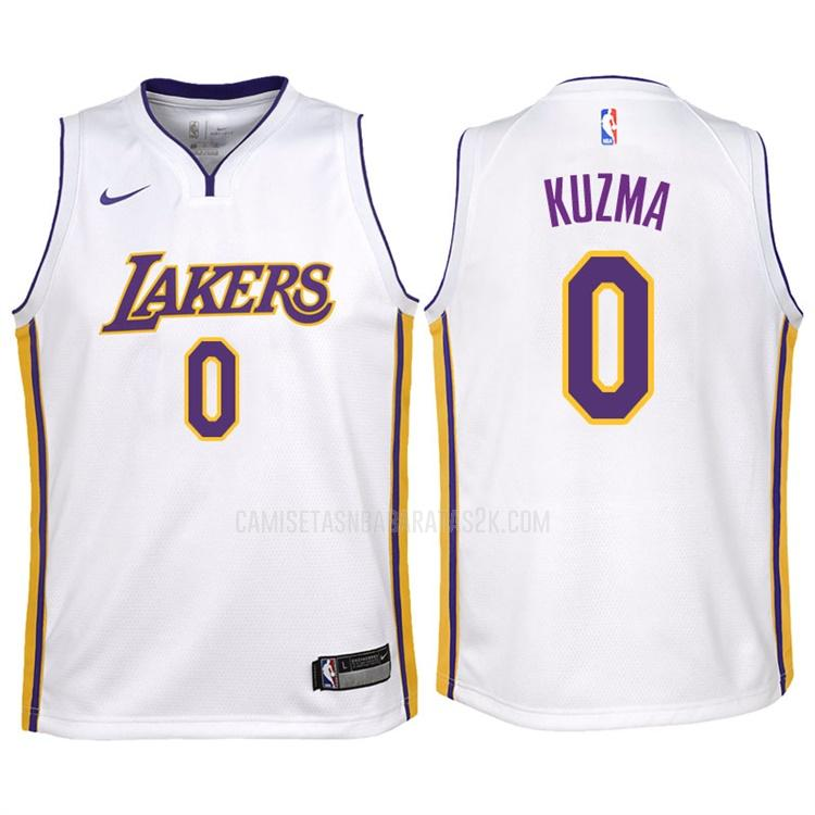 camiseta los angeles lakers de la kyle kuzma 0 niños blanco association 2017-18