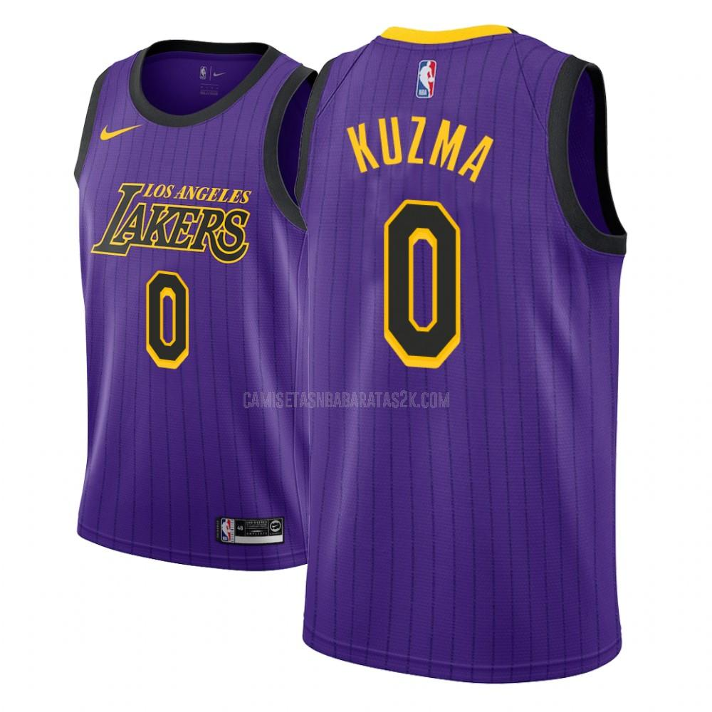 camiseta los angeles lakers de la kyle kuzma 0 niños morado edición city