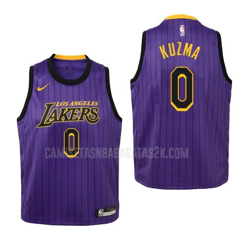 camiseta los angeles lakers de la kyle kuzma 0 niños morado edición city 2018-19