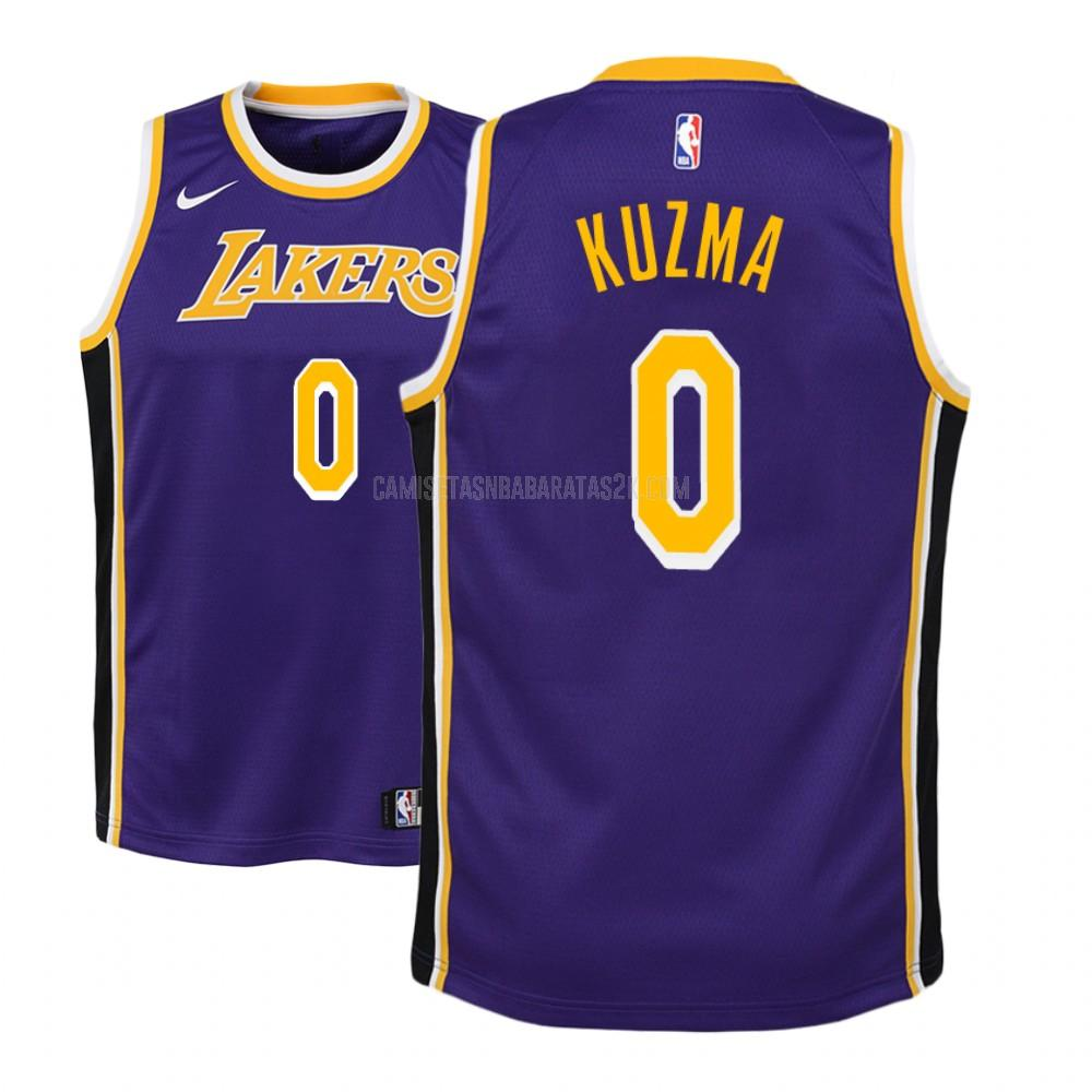 camiseta los angeles lakers de la kyle kuzma 0 niños morado statement