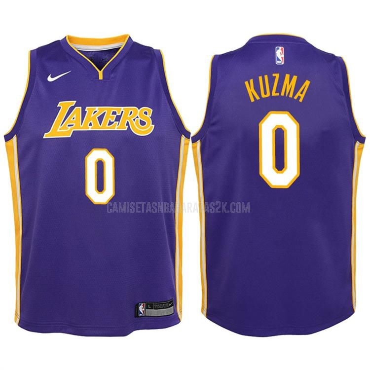camiseta los angeles lakers de la kyle kuzma 0 niños morado statement 2017-18