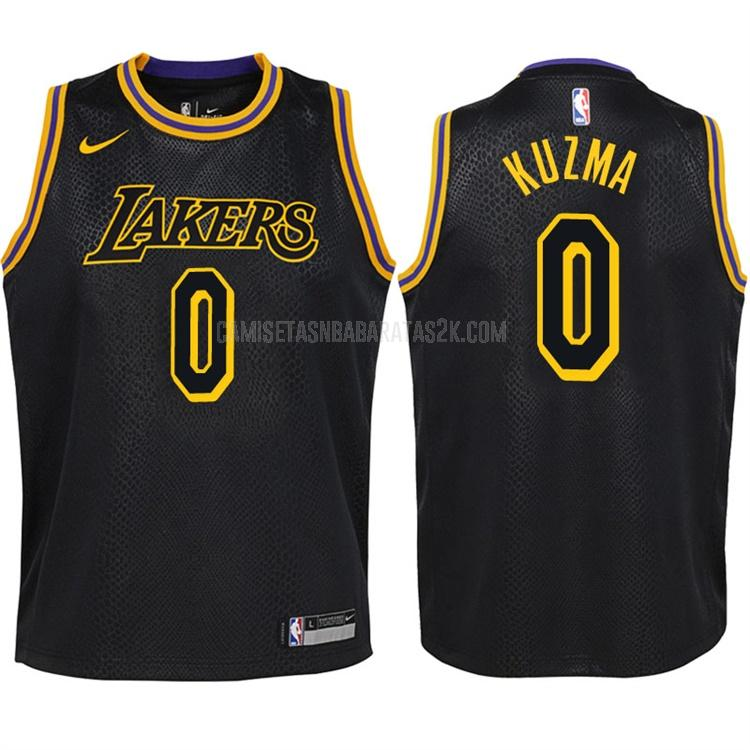 camiseta los angeles lakers de la kyle kuzma 0 niños negro edición city 2017-18