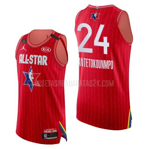 camiseta milwaukee bucks de la giannis antetokounmpo 24 hombres rojo nba all-star 2020