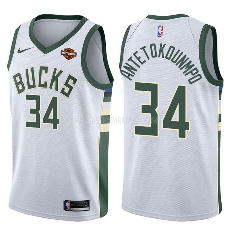 camiseta milwaukee bucks de la giannis antetokounmpo 34 hombres blanco association 2017-18