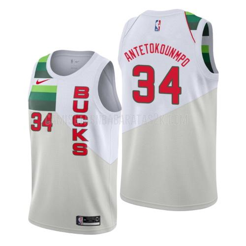 camiseta milwaukee bucks de la giannis antetokounmpo 34 hombres blanco edición earned