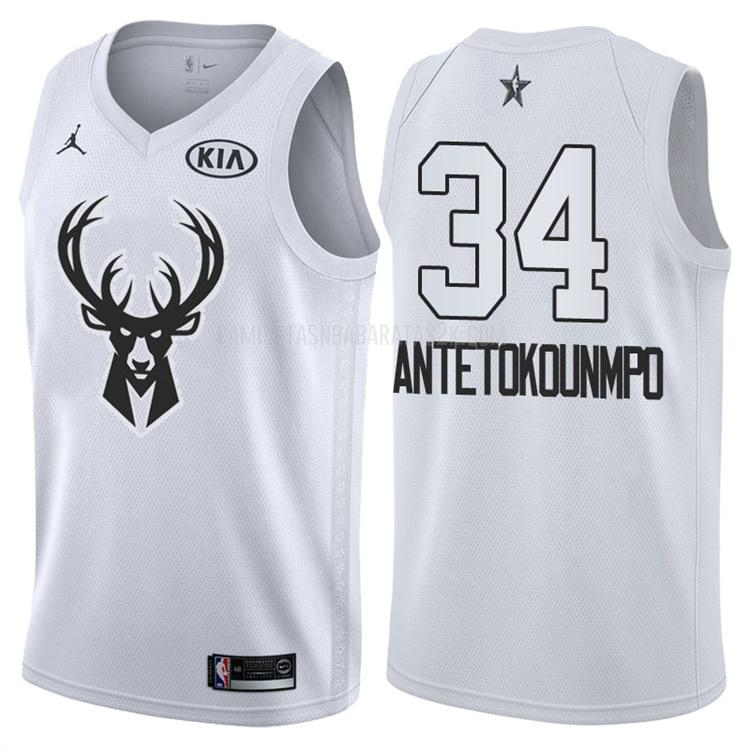 camiseta milwaukee bucks de la giannis antetokounmpo 34 hombres blanco nba all-star 2018