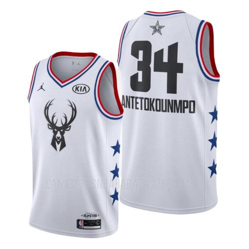 camiseta milwaukee bucks de la giannis antetokounmpo 34 hombres blanco nba all-star 2019