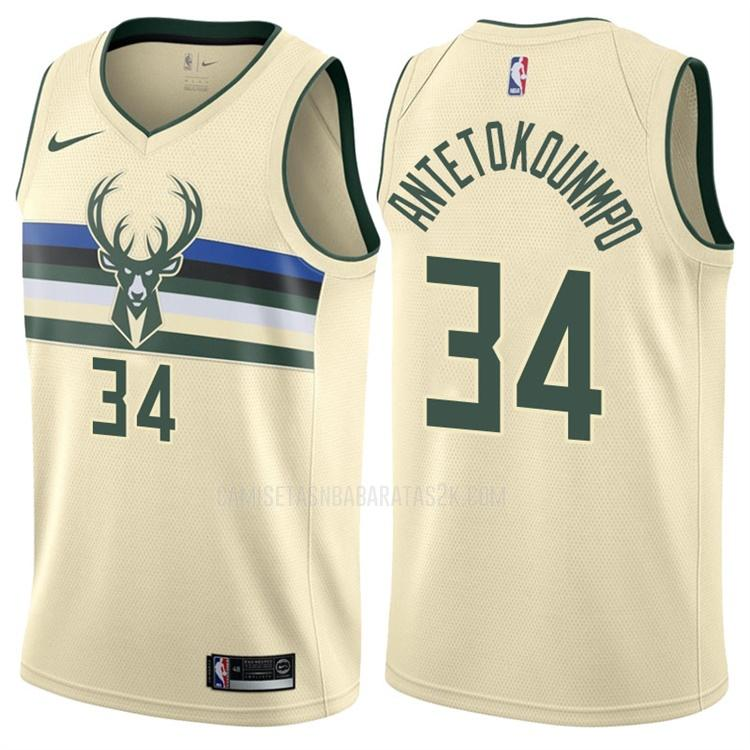 camiseta milwaukee bucks de la giannis antetokounmpo 34 hombres color crema edición city