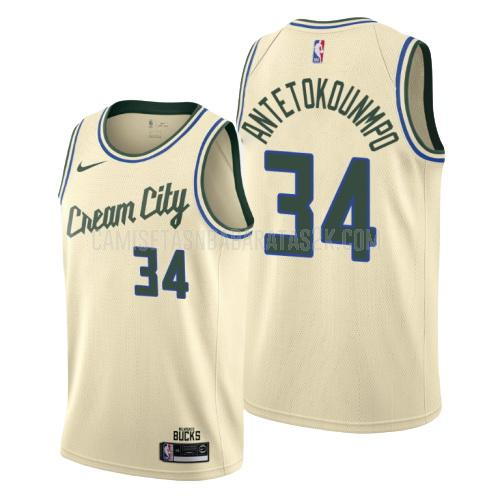 camiseta milwaukee bucks de la giannis antetokounmpo 34 hombres color crema edición city 2019-20