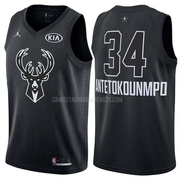 camiseta milwaukee bucks de la giannis antetokounmpo 34 hombres negro nba all-star 2018