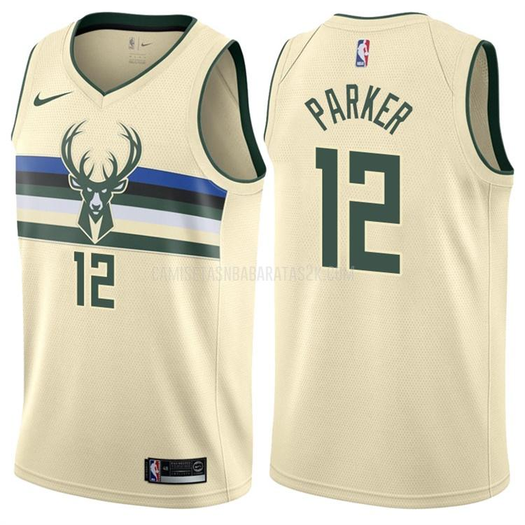 camiseta milwaukee bucks de la jabari parker 12 hombres color crema edición city