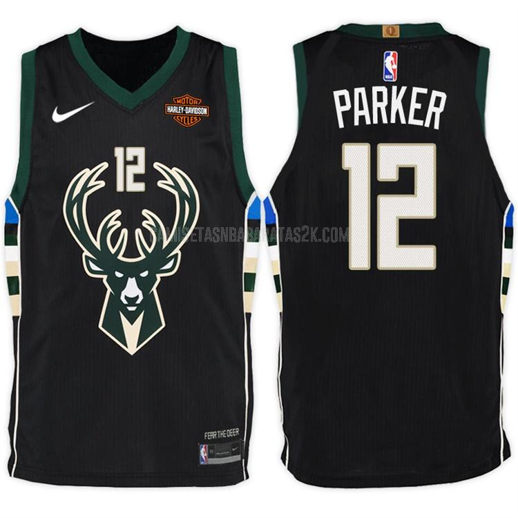 camiseta milwaukee bucks de la jabari parker 12 hombres negro statement 2017-18