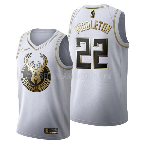 camiseta milwaukee bucks de la khris middleton 22 hombres blanco edición dorada
