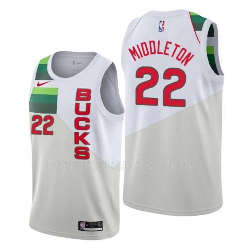 camiseta milwaukee bucks de la khris middleton 22 hombres blanco edición earned